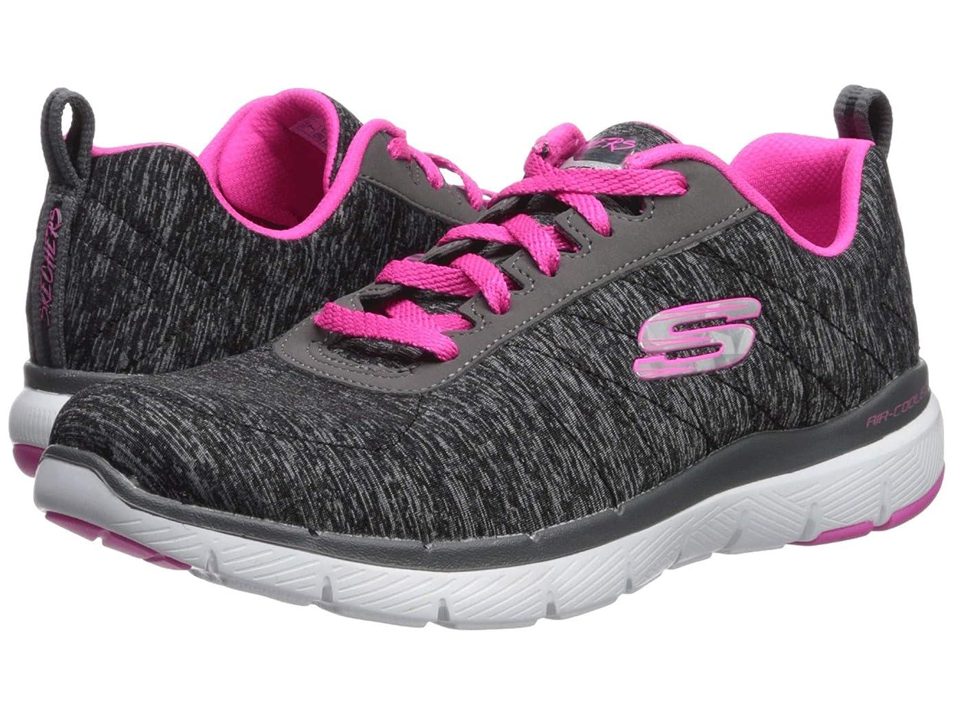 優先権引っ張る役員レディーススニーカー?ウォーキングシューズ?靴 Flex Appeal 3.0 - Insiders Black/Hot Pink 8 (25cm) B - Medium [並行輸入品]