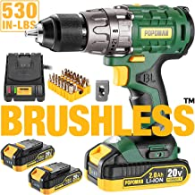 "Cordless drill, 20V Brushless 1/2"" Drill Driver, 2x2000mAh Batteries, 530 In-lbs.."