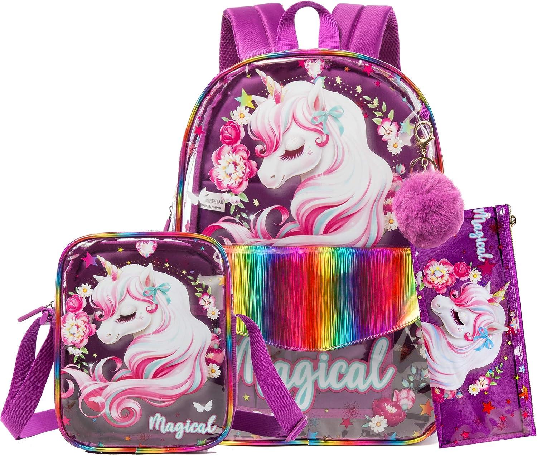 HTgroce Girls Ultra-Cheap Deals Unicorn Clear School Little excellence Lightweight Backpack K