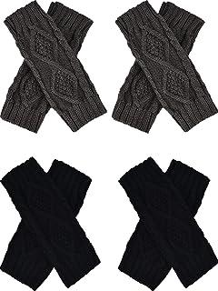 4 أزواج من قفازات الكروشيه نسائية بدون أصابع من تاتو قفازات تدفئة الذراع أكمام قفازات المعينة قفازات بفتحة إصبع الإبهام