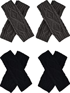 Tatuo 4 Pairs Women's Crochet Fingerless Gloves Knit Arm Warmers Sleeves Rhombus Gloves Thumb Hole Mittens