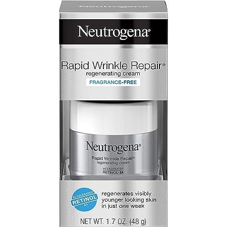 Neutrogena Rapid Wrinkle Repair Retinol Cream, Anti-Wrinkle Face & Neck Cream with Hyaluronic Acid & Retinol, Fragrance-Free Moisturizer, 1.7 oz