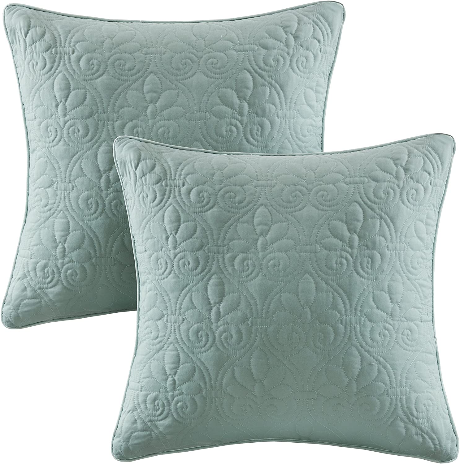 Madison Park Quebec Quilted Throw Pillow, Transitional Square Decorative Pillow, 20X20, Set of 2, Seafoam