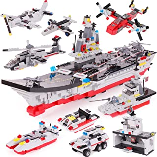 2586 Pieces Aircraft Carrier Building Blocks Set, Military Models Toy, with Tank Car, Command Post, Helicopter & Patrol Boat, Storage Box with Parts Sorting Tray, Popular Gift for Kids Boys Girls 6-12