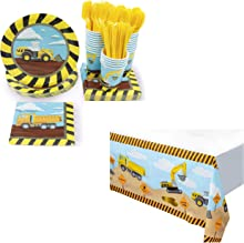 Construction Party Bundle with Disposable Tableware and Tablecloths (150 Pieces)