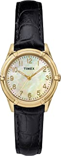 Timex Women Easton Avenue | Black Leather Strap Gold-Tone Case Dress TW2P76200