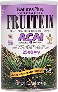 NaturesPlus Fruitein Acai High Protein Energy Shake- 1.2 lbs, Vegetarian Powder -Antioxidants, Vitamins, Minerals, Enzymes...