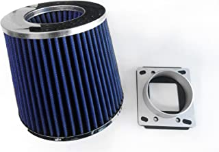 Air Intake Cone Filter + MAF Sensor Adapter For 1984-1991 BMW E30 3-Series (318/325/M3) (Blue)