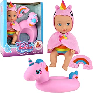 Waterbabies Doll Bathtime Fun, Unicorn, Water Filled Baby Doll, Multi-Color