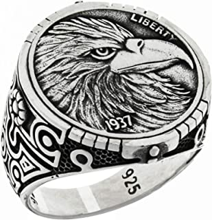 Solid 925 Sterling Silver Statement Eagle Head Liberty 1937 Coin Style Patriotic USA Bird American Symbol Novelty Ring for...