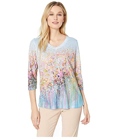 8334c24ce FDJ French Dressing Jeans Field Flowers Print V-Neck 3 4 Sleeve Top ...