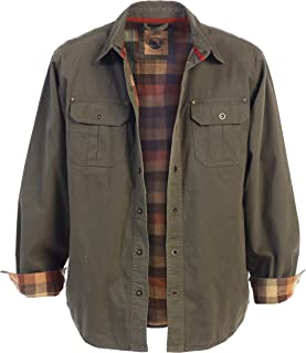 Gioberti Men`s Brushed and Soft Twill Shirt Jacket with Flannel Lining