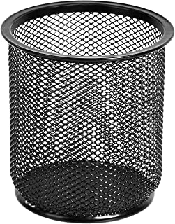 Amazon Basics Round Mesh Pen and Pencil Cup, Black, 3-Pack