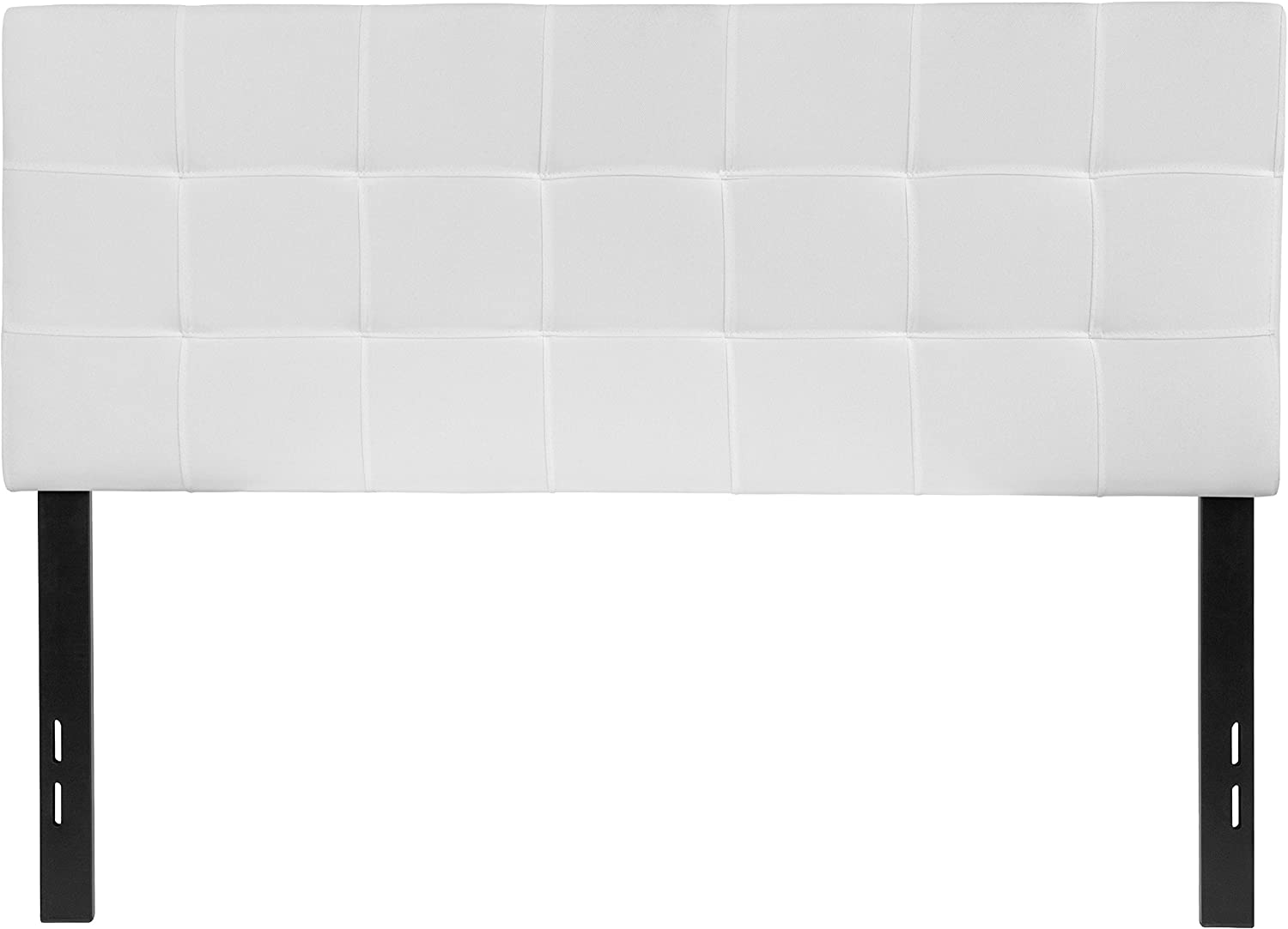 Flash Furniture Bedford Tufted Upholstered Full Size Headboard in White Fabric