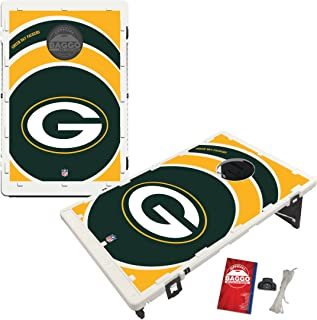 Baggo Portable All-Weather Cornhole Boards Game Set, NFL Vortex with Matching Corn-Filled Bags