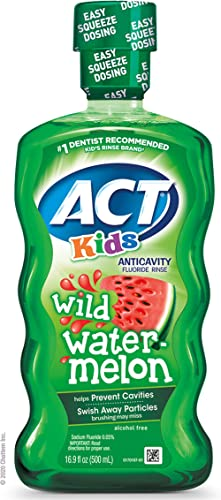 ACT Kids Anticavity Fluoride Rinse Wild Watermelon 16.9 fl. oz. Accurate Dosing Cup, Alcohol Free
