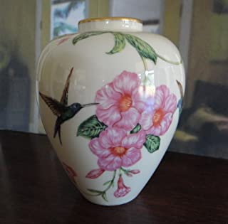 Lenox Hand-Painted Fine China Vase Decorated w/Hummingbird & Flowers