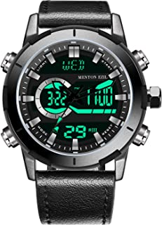 Men's Sports Watch Sapphire Big Face Analog Digital Dual Time Waterproof EL Backlight, Multifunctional Outdoor Military Wrist Watches with Leather Strap …