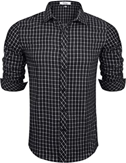 Aibrou Camisa Hombre Manga Larga Camisa Cuadros Hombre Regular Fit Camisa de Hombre de Algodón Casual Talla Grande