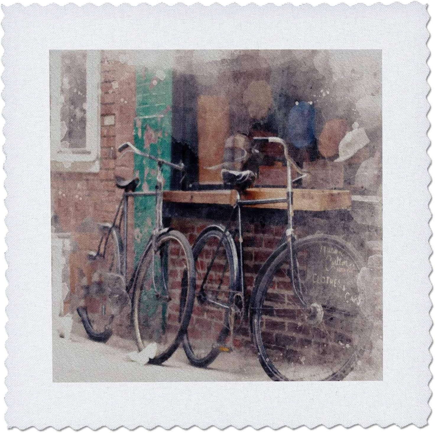 3dRose Image Of Special sale Cheap item Watercolor Two Bicycles - Building Qui Against A