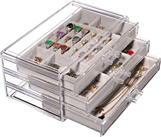 Jewelry Box for Women with 3 Drawers,Clear Jewelry Organizer Velvet Rings Necklaces Earring Bracelets Display Case Stand Holder Tray for Girls,Gray By Cq acrylic