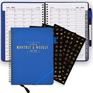 $20 » SynLiZy Planner Weekly and Monthly 365 Days Dated Academic Daily Jul.2021-Jun.2022 with Three Sheets of Stickers,12 Monthl...