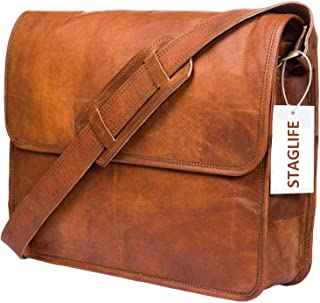 Urban Leather Messenger Bags for Men & Women New Job Gifts for Teen Boys Laptop Shoulder Bag Office Work Executives Briefcase Cross body Fit - Flap Over Vintage Brown Satchel Bag Size 14.5 inch