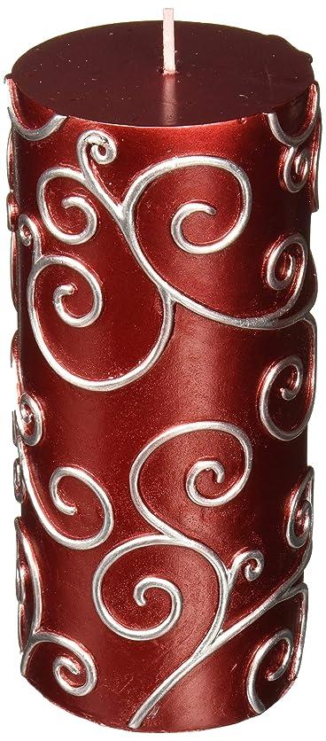 スキャンダラス歌詞不適Zest Candle CPS-004-12 3 x 6 in. Red Scroll Pillar Candle -12pcs-Case - Bulk