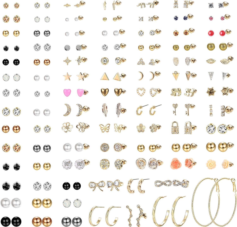 LOLIAS 93 Pairs Assorted Multiple Stud Earrings Set for Women Teen Girls Cute Simple Faux Pearl Hoop Earrings Bar Moon Star CZ Stud Earring Jewelry