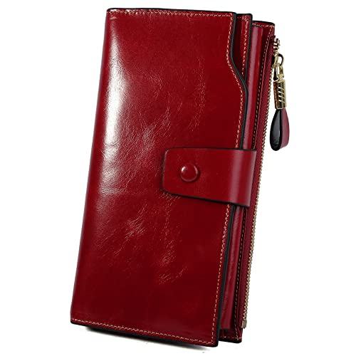 fe164734c37a YALUXE Women s RFID Blocking Large Capacity Luxury Wax Genuine Leather  Clutch Wallet Multi Card Organizer
