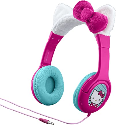 Hello Kitty Kid Friendly Headphones with Built in Volume Limiting Feature for Safe Listening