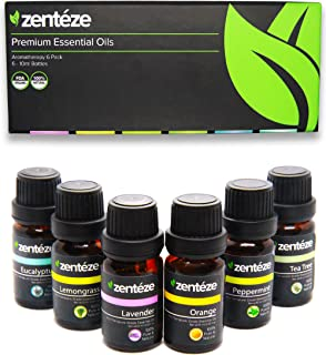Essential Oils Set (6 pack) by Zentéze   Essential Oils Lavender, Orange, Lemongrass, Peppermint, Eucalyptus & Tea Tree Premium Grade Aromatherapy Essential Oils for Diffuser