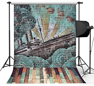 Kooer 5x7ft Vintage Graffiti Wall Style Photography Backdrops Steampunk Style Old Titanic Photography Backgrounds Photo Studio Prop Baby Children Family Photoshoot Backdrop Customized Various Size