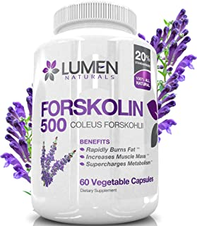 Pure Forskolin Extract 500mg - 2X Strength 20% Standardized Fat Burner - Natural Coleus Forskohlii Appetite Suppressant with Non-GMO Ingredients - 60 Capsules