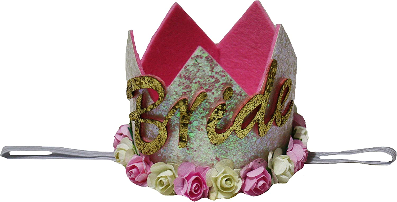 Petitebella Glitter Rose White Bride Crown Headband Wedding Accessory for Lady (One Size)
