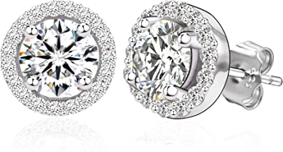 Spoil Cupid 14k Gold Plated Sterling Silver Round Brilliant Cut Cubic Zirconia Halo Stud Earrings