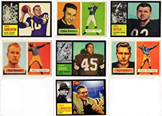 Topps Football Rookie Reprint (7) Card Lot **featuring Fran Tarkenton, Johnny Unitas, Mike Ditka, Paul Hornung, Ernie Davis, Bart Starr, and a custom 1962 Vince Lombardi ** (Colts) (Browns) (Packers) (Bears) (Vikings)
