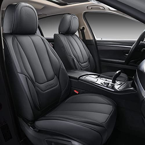 wholesale Coverado Front and Back popular Seat Covers outlet online sale 4 Pieces, Waterproof Nappa Leather Auto Seat Protectors Full Set, Universal Car Accessories Fit for Most Sedans SUV Pick-up Truck, Black sale
