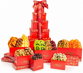 Dried Fruit & Nut Gift Basket, Red Tower + Ribbon (12 Piece Assortment) - Fathers Day Prime Arrangement Platter, Birthday ...