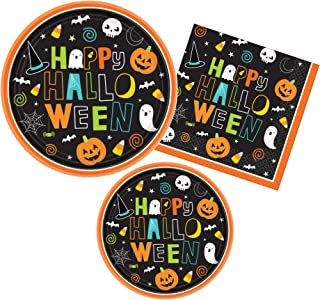 Halloween Party Supply Pack - Hallo-ween Friends Design - Bundle Includes Paper Plates and Napkins for 60 Guests