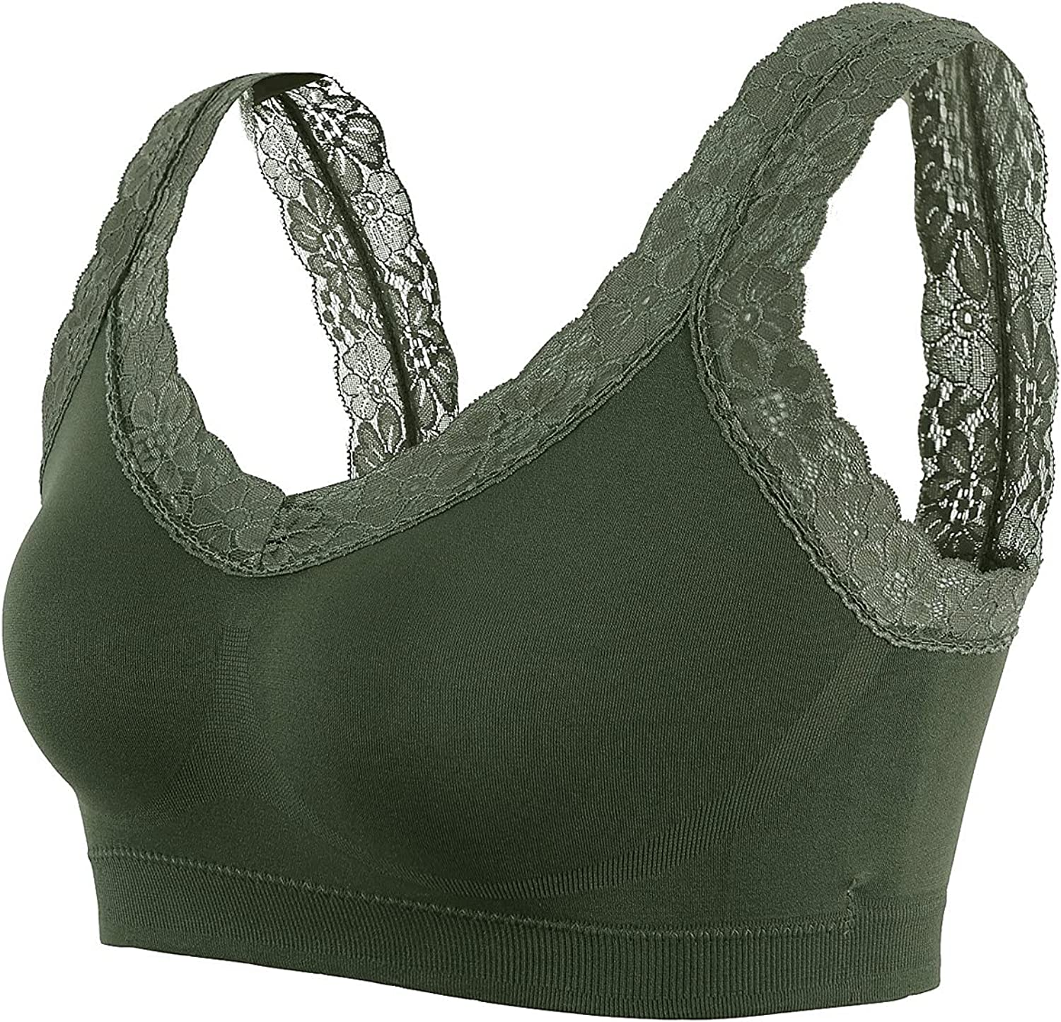 Women's Lace Trim Wirefree Bra Seamless Full Cup Sports Bras for Yoga Workout Exercise Sleeping Everyday Wear