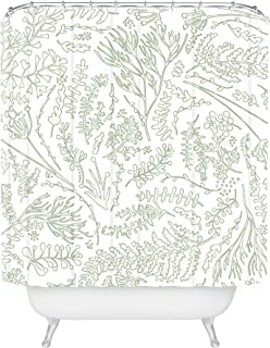 """Deny Designs Monika Strigel Herbs And Ferns Green And White Shower Curtain, 72"""" x 69"""""""