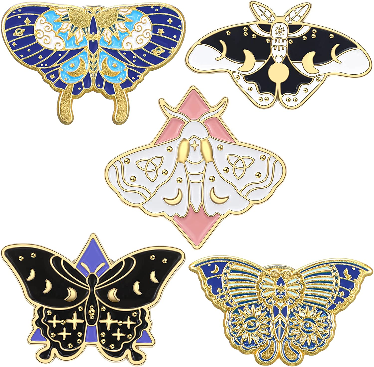 5 Pieces Butterfly Enamel Pins Set Colorful Lapel Pins Cool Moth Brooch Pin Backpacks Steampunk Badge Jewelry for Women Girls