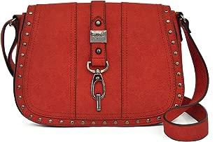 Nicole Miller New York Barlow Saddle FLP Crossbody Handbag, Claret, One Size