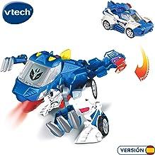 VTech- Patrulla, el tericinosaurio policía. Dinosaurio electrónico Interactivo transformable en Coche con Voz, Funciones, mas de 60 Sonidos y Frases, Color Azul (3480-195022)