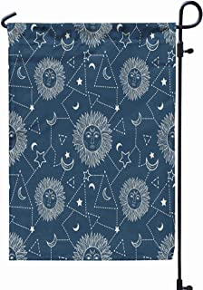GROOTEY Garden Flag Stand,Welcome Garden Flag Bohemian Pattern Sun Moon Stars Constellation Vintage Style Hipster Astronomy Astrology Symbol 12X18 Inches,Garden Flag Set,Black Green