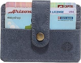 Tanoak Minimalist Card Holder Plus Half Cash Compartment RFID Safe Clutch Button (Blue) Designer Purse