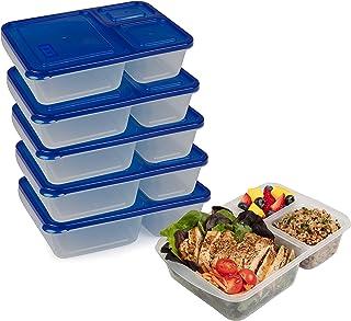 The Biggest Loser 食事準備用容器 3コンパートメント 漏れ防止 ランチボックス 食品保存容器 計量と蓋付き BPAフリー 弁当箱 5個セット