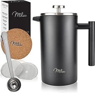 Milu fransk kaffepress | 350ml 600ml 1L | homgeek French Press Kaffeebereiter rostfritt stål ersättningsfilter Kaffebrygga...