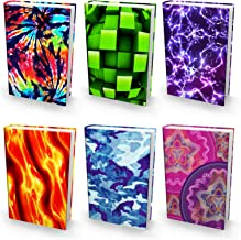 BOOK SOX Stretchable Book Cover: JUMBO NOVELTY PRINTS Value Pack of 6 Jackets Fit Hardcover Textbooks up to 9